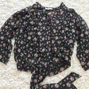 Semi-sheer flower blouse